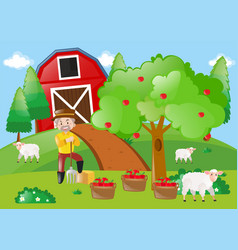 Farmer standing by the apple tree in the farm vector