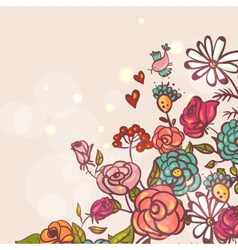 Floral background with roses and birds vector image vector image