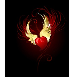 heart with wings foil vector image vector image
