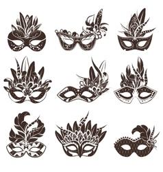 Mask black white icons set vector
