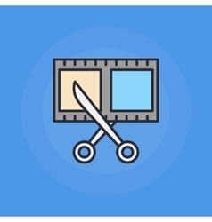 Scissors and film shot icon vector image