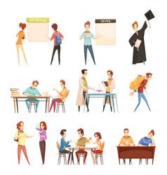students retro cartoon set vector image vector image