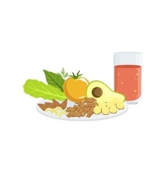 Vegetables nuts and tomato juice breakfast food vector