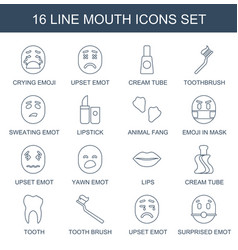 16 mouth icons vector