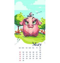 2021 calendar may funny cartoon pig on spring lawn vector