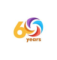 60 year anniversary rainbow template design vector