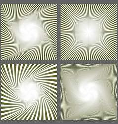 Abstract spiral ray and starburst background set vector image