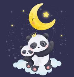 Adorable panda in watercolor vector