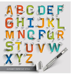 Alphabet paper cut colorful font style vector