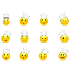 Anime smilies in the kitchen vector