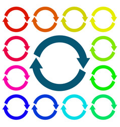 Arrows circle colored set web icons vector