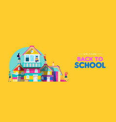 back to school banner kids making book house vector image