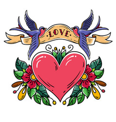 birds carry ribbon with word love over heart vector image