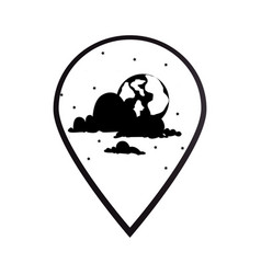 Black silhouette mark icon pointer gps with moon vector