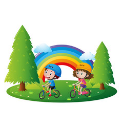Boy and girl riding bicycle in park vector