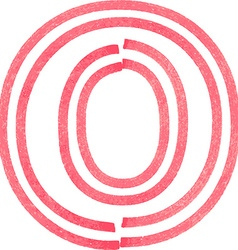 Capital letter O drawing with Red Marker vector