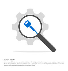 Car key icon search glass with gear symbol icon vector