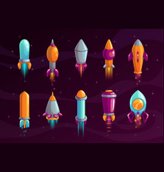 Cartoon colorful space missile set vector