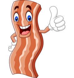 cartoon cute bacon giving a thumb up vector image