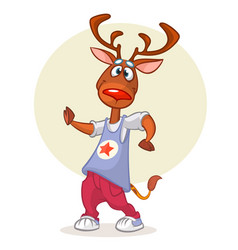 cartoon deer dancing vector image