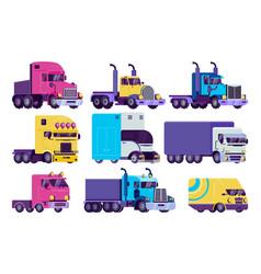 Cartoon truck set flat semi vector