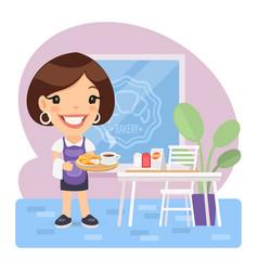 Cartoon waitress with tray vector