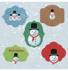 Christmas Set with Notes Stickers Labels with vector image