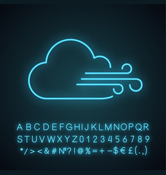 cloudy windy weather neon light icon vector image