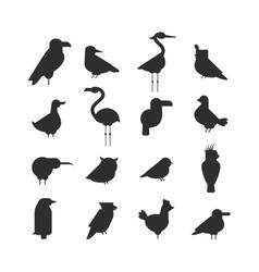 collection nature black bird wildlife vector image