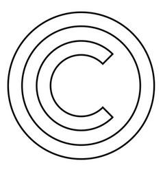 Copyright symbol icon black color flat style vector