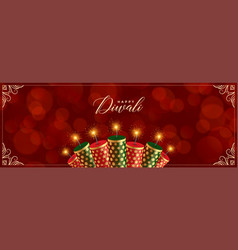 Decorative happy diwali crackers red banner design vector