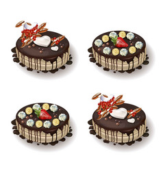 delcious cakes set with chocolate and fruits vector image
