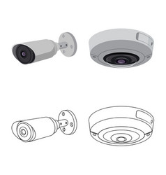 Design cctv and camera sign collection vector