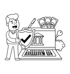 digital banking services online tools laptop black vector image