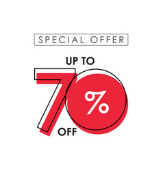 Discount up to 70 off special offer template vector