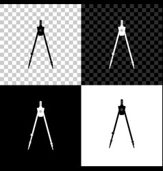 Drawing compass icon isolated on black white and vector