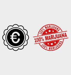 Euro award icon and grunge 100 percent vector