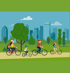 family cyicling in a park vector image