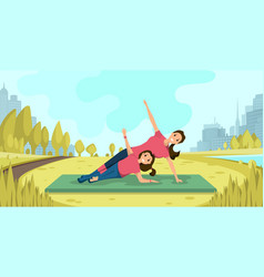 family yoga exercises on fresh air flat vector image