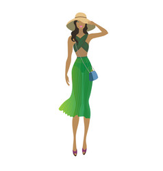 fashion stylish summer girl fashion model vector image