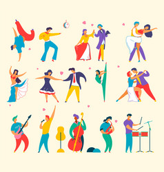 flat cartoon characters people dancing playing vector image