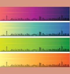 fukuoka multiple color gradient skyline banner vector image