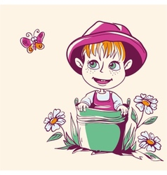 funny little girl in a pink hat vector image
