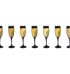 Gold foil champagne flutes seamless pattern vector