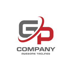 Gp letter logo design vector