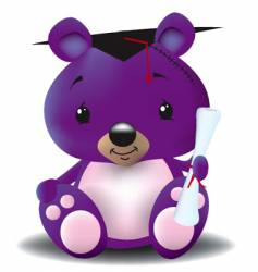 graduation teddy bear vector image