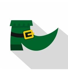 Green leprechaun boot icon flat style vector