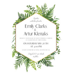 Greenery wedding floral invitation card design vector