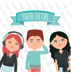 group young people with accessories urban style vector image
