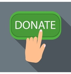 Hand presses button to donate icon flat style vector